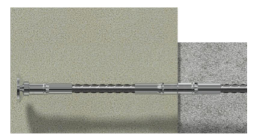Notice that the connection between the old concrete and the new concrete is achieved using INCON ICS Standard couplers and INCON ICT Bar Terminators. In case steel bars are restrained against rotational movement, then INCON ICP position couplers become handy.