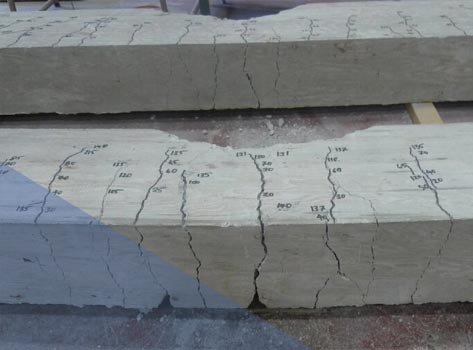 Typical cracking pattern of the beam specimens reinforced with INCON mechanical splices. Flexural cracks were developed and propagated along the beam before crushing of concrete.